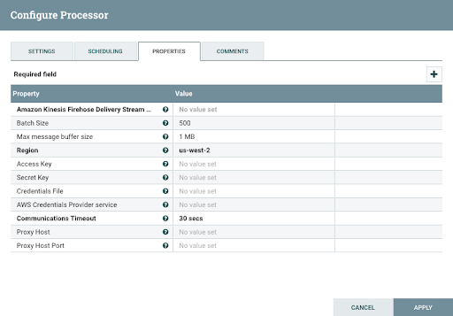 Configuring Processor For Data Integration Using Apache NiFi to Amazon RedShift with Amazon Kinesis Firehose Stream