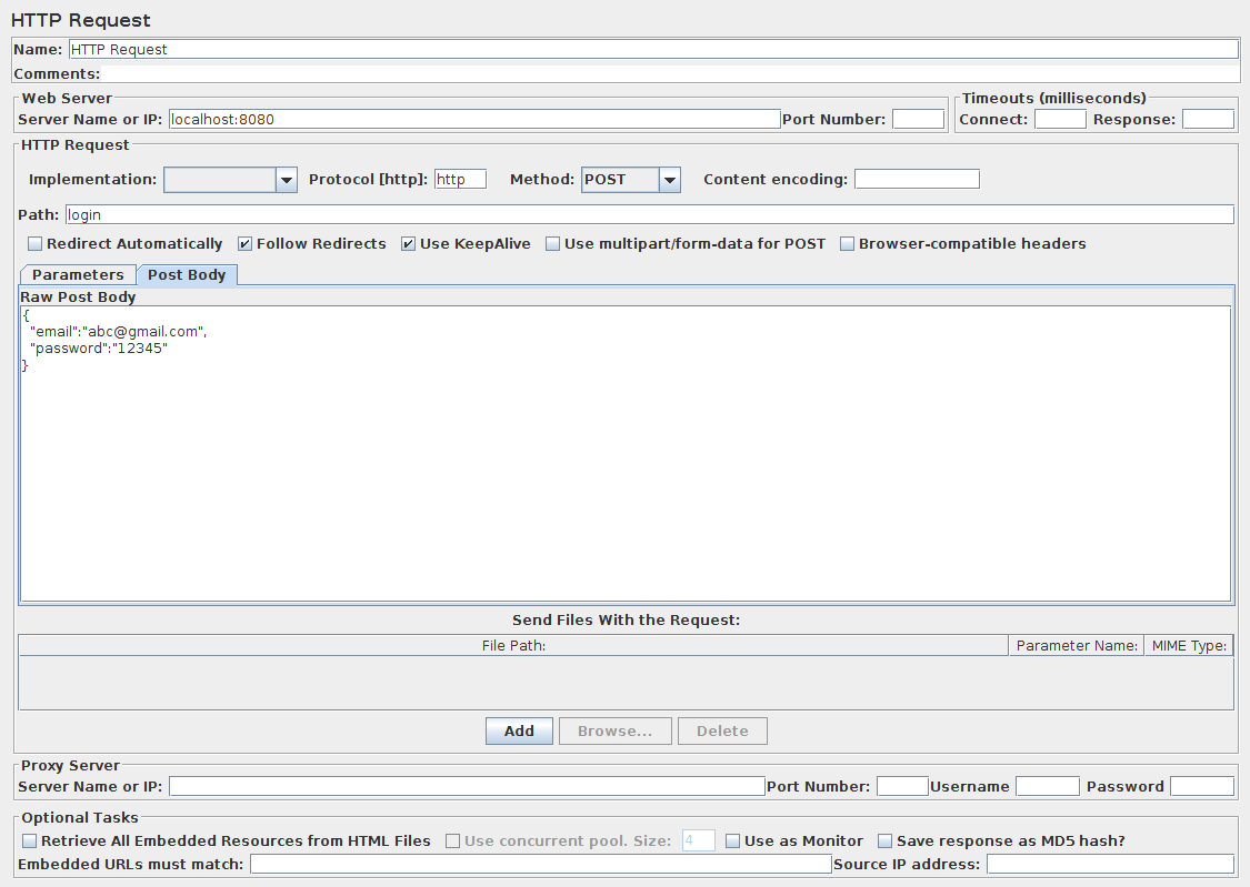Unit Testing With JMeter - enter the Server Name or IP of the API and its port (if required) in the web server section.