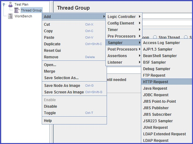 Unit Testing With JMeter - we need to add an HTTP Request Sampler inside a thread group