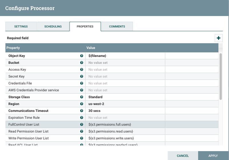 Configuring Processor for Data Integration using Apache Nifi to Amazon S3