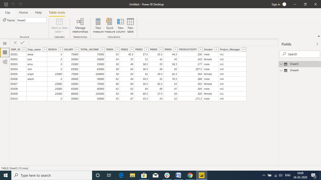 excel sheet data