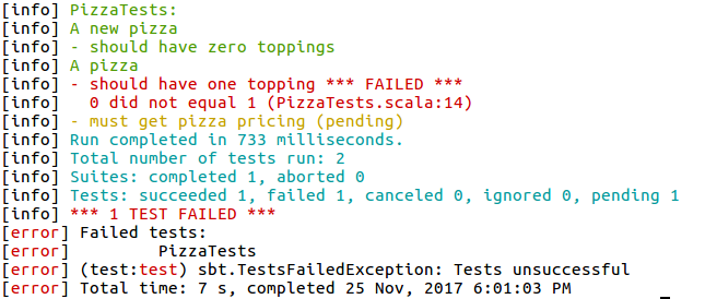 SBT Test Outpu for Test Driven Development